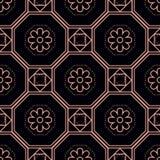 花和八角形物无缝的样式 向量例证