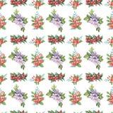 花和叶子无缝的设计的水彩样式在白色背景的 免版税图库摄影