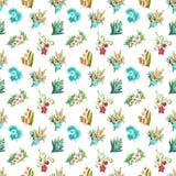花和叶子无缝的设计的水彩样式在白色背景的 免版税库存照片