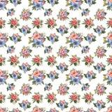 花和叶子无缝的设计的水彩样式在白色背景的 免版税库存图片