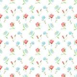 花和叶子无缝的设计的水彩样式在白色背景的 图库摄影