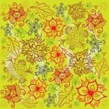 花和叶子样式-红色和绿色 免版税库存图片