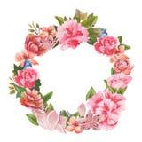 花和叶子的手画水彩组合,隔绝在白色背景 免版税库存照片