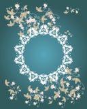 花和叶子空间的装饰品您的文本的 免版税库存照片