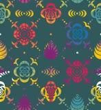 从花和叶子钢板蜡纸的装饰品  图库摄影