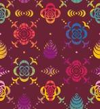 从花和叶子钢板蜡纸的装饰品  免版税库存照片