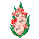 花和叶子,贺卡的手画水彩花束组合,隔绝在白色背景 免版税库存图片