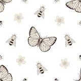 花和昆虫无缝的样式 免版税库存图片