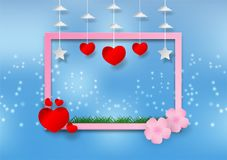 花和框架纸艺术样式与心脏的在蓝色背景的 导航例证,华伦泰` s天概念 免版税库存图片