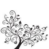 花和漩涡设计元素剪影 免版税库存图片