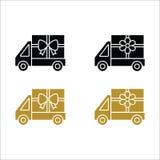 花和礼物送货卡车象 免版税库存照片