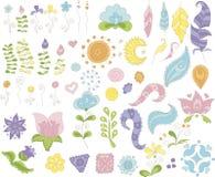 花和羽毛的汇集设计的 向量例证