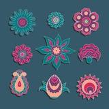 花和芽五颜六色的装饰品元素集  免版税库存照片