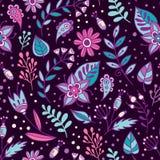 花和草本传染媒介无缝的样式 与紫色的花卉背景、桃红色和蓝色叶子和植物 库存照片