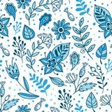 花和草本传染媒介无缝的样式 与蓝色和白色叶子和植物的花卉背景 免版税图库摄影