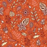 花和草本传染媒介无缝的样式 花卉背景用桔子、棕色和灰棕色叶子和植物 免版税库存图片