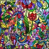 从花和菜装饰品的彩色玻璃窗 免版税库存图片