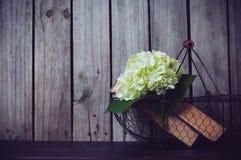 花和葡萄酒书 库存图片