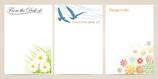 花和鸟便条纸 库存照片