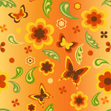 花和蝴蝶墙纸 库存例证