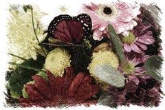 花和蝴蝶摘要 免版税库存图片