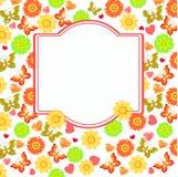 花和蝴蝶框架 免版税库存照片
