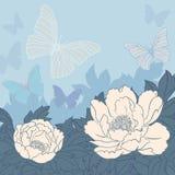花和蝴蝶背景 免版税库存照片