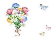花和蝴蝶水彩花束在白色 图库摄影