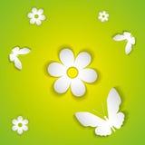 花和蝴蝶从纸 免版税图库摄影