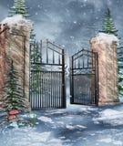 花园大门在冬天 免版税库存照片