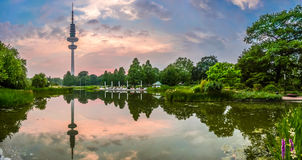 花园美丽的景色在有著名海因里奇赫兹Turm塔的在黄昏,汉堡,德国Planten um Blomen公园 库存图片