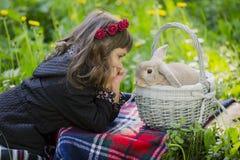 花圈的一个小女孩观察在篮子的一只兔子在日落在公园 免版税库存图片