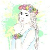 花圈的年轻时髦的女孩 时兴的样式 草图 也corel凹道例证向量 库存照片