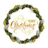 花圈被隔绝在与文本圣诞快乐的白色背景 书法字法 库存图片