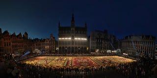花地毯在布鲁塞尔,比利时 库存照片