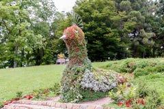 花坛在以鸟的形式树木园 图库摄影