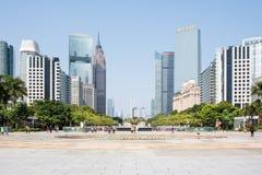 花城市广场地平线在广州 免版税库存照片