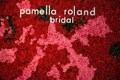 花墙壁在秋天2015新娘汇集Pamella罗兰特介绍时 免版税库存照片