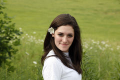 花头发妇女年轻人 免版税库存图片