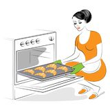 花姑娘的档案 女孩准备食物 烘烤在烤箱欢乐曲奇饼,法国新月形面包 妇女是好 向量例证