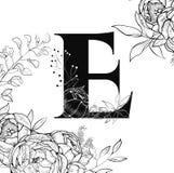 花字母表信件E样式 库存图片