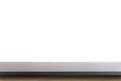 花岗岩在白色背景隔绝的石头桌空的上面  免版税库存照片
