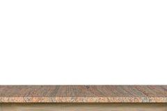 花岗岩在白色背景隔绝的石头桌空的上面  免版税图库摄影