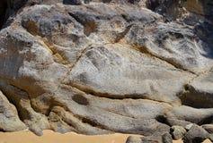 花岗岩晃动金黄海湾的,新西兰背景全景 免版税图库摄影