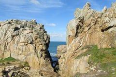 花岗岩海岸在法国 库存照片