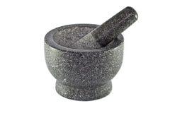 花岗岩灰浆和杵 免版税库存图片