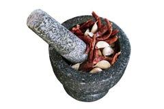 花岗岩灰浆和杵 免版税库存照片