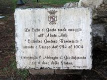 花岗岩纪念匾在意大利公园 库存图片