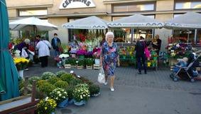 花市场在拉脱维亚 库存照片