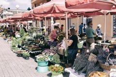 花市场在萨格勒布,克罗地亚 库存照片